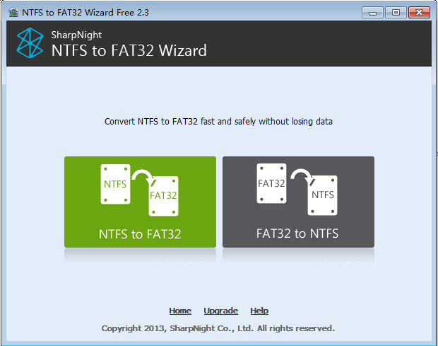 NTFS to FAT32 Wizard Free Edition Screen shot